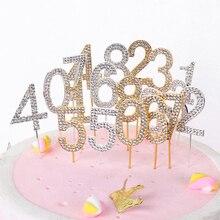 """1 шт., топпер для торта с цифрами """"0-9"""", золотой Шипованный бриллиант, Топпер для торта на десерт, годовщину, день рождения, украшение, свадебные принадлежности"""
