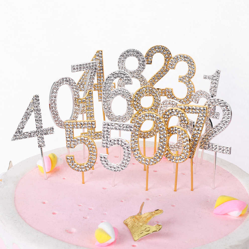 "1PC Number""0-9"" Cake Topper Gold Diamond-studded Cake Topper for Dessert Anniversary Birthday Party Decoration Wedding Supplies"