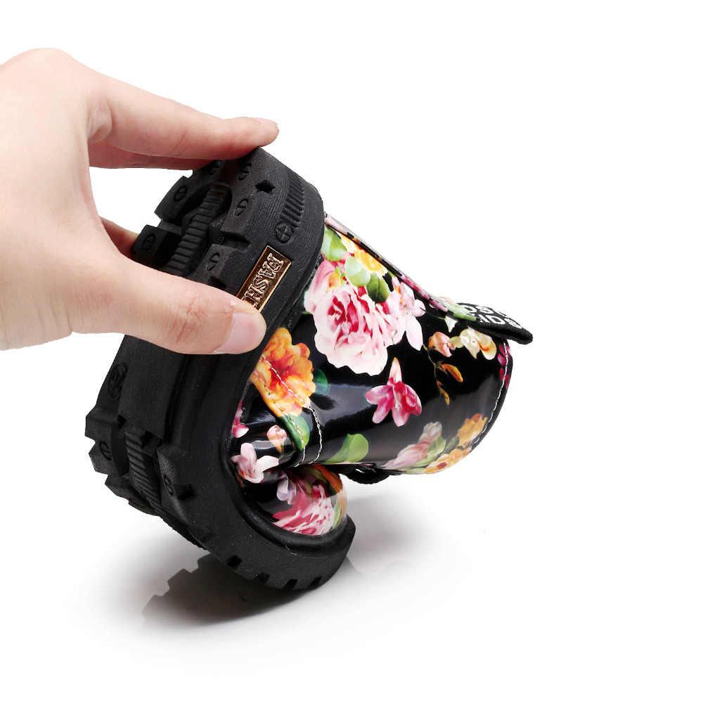 หนาขนสัตว์รองเท้าเด็กหญิง Elegant ดอกไม้ดอกไม้พิมพ์รองเท้ารองเท้าเด็กรองเท้าเด็กทารกเด็กวัยหัดเดิน Martin รองเท้าเด็ก