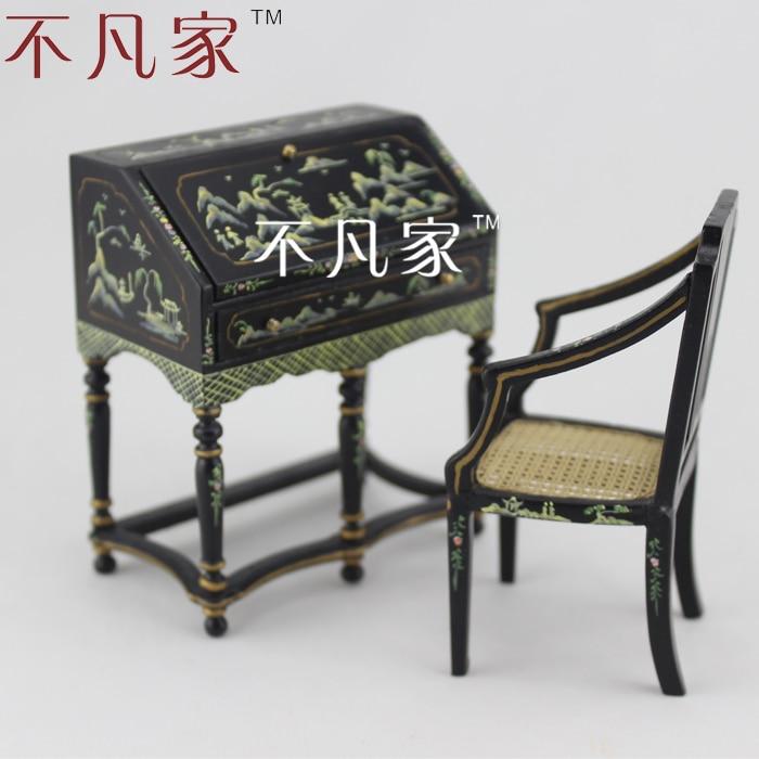 1/12 échelle maison de poupée miniature à la main dessin coloré noir mini mobilier chaise de bureau