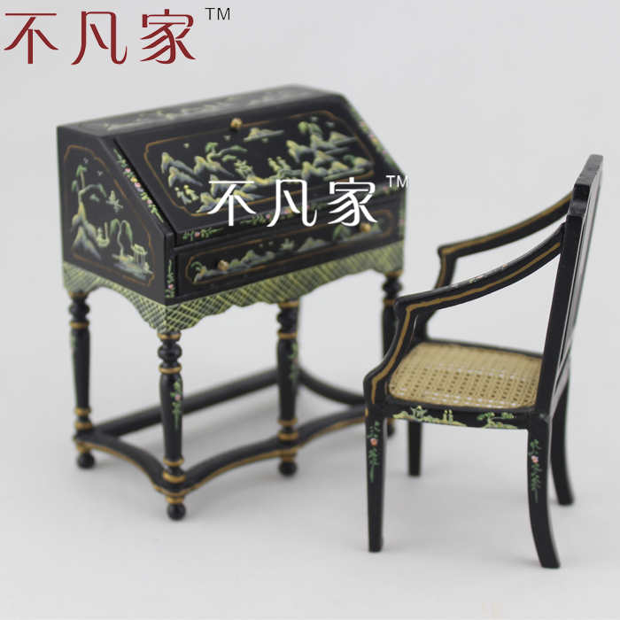 1/12 scale Doll house miniature handmade colored drawing black mini furniture desk chair1/12 scale Doll house miniature handmade colored drawing black mini furniture desk chair
