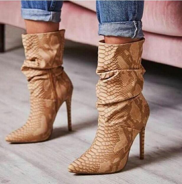 Sexy Brown Snake PU Pointed Toe Mid-Calf Boots Fashion Mixed Colors Riding Boots Stiletto Heels Women's Shoes mid calf pointed toe cowboy boot stiletto thin heels womens riding boots beading buckle adhesive euro pure color faux fur