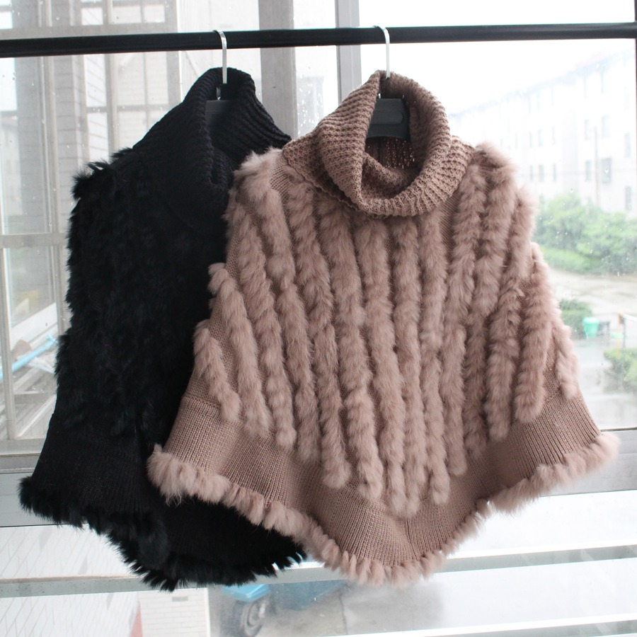 femme natural knitted rabbit fur poncho with high collar women Fashion Pullover female Real Fur Knit Wraps Triangle Shawls Coat rabbit print pullover