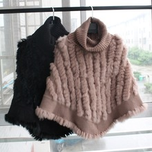 femme natural knitted rabbit fur poncho with high collar women Fashion Pullover female Real Fur Knit Wraps Triangle Shawls Coat vr046 knitted knit new real rabbit