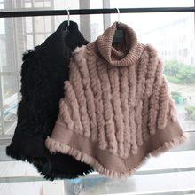 9e75064e09935 Femme naturel tricoté de fourrure de lapin poncho avec col haut femmes De  Mode Pull femme Vraie Fourrure Tricot Wraps Triangle C..