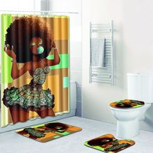 Sexy Skirt Girl Bathroom Curtain Waterproof Fabric Blowing Bubble Gum Curls African Women Shower And
