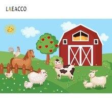 Laeacco Cartoon Farm Animals Baby Children Party Photography Backgrounds Custom Vinyl Photographic Backdrops For Photo Studio