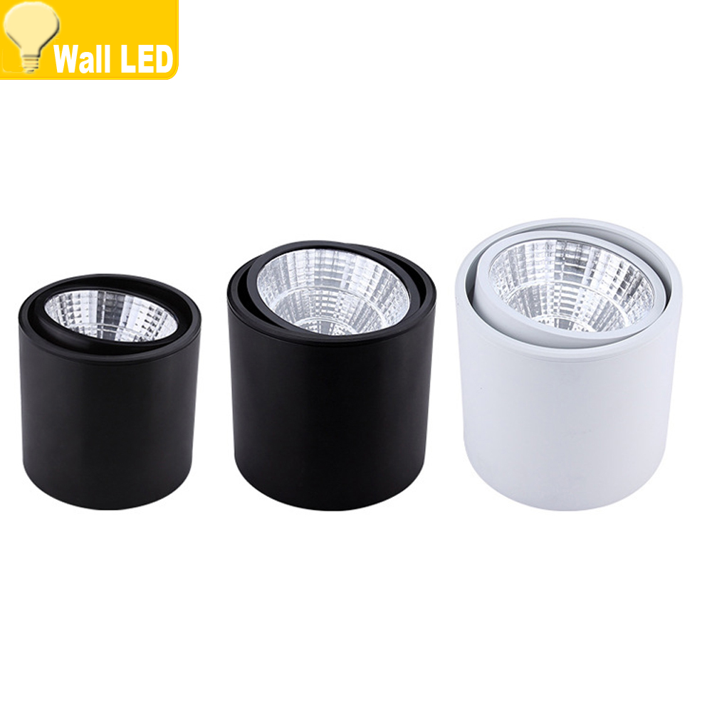 20w Led Dimmable: Surface Mounted Dimmable White/black Led COB Downlight 5W