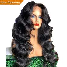 13x6 Deep Part 250 Density Lace Front Human Hair Wigs Preplucked with Baby Hair Remy Black for Women Loose Body Wave Atina Queen(China)
