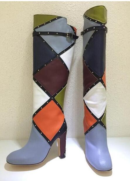2017 New Arrivals Europe Style Fashion Mixed Color Thick High Heel Boots Knee High Women's Leather Boots 100% Factory Real Photo fashion europe style high quality brass