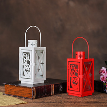 PINNY Christmas Glass Iron Candles Stand Cartoon Decorative Candle Holder Home Decoration Accessories European Metal Lantern