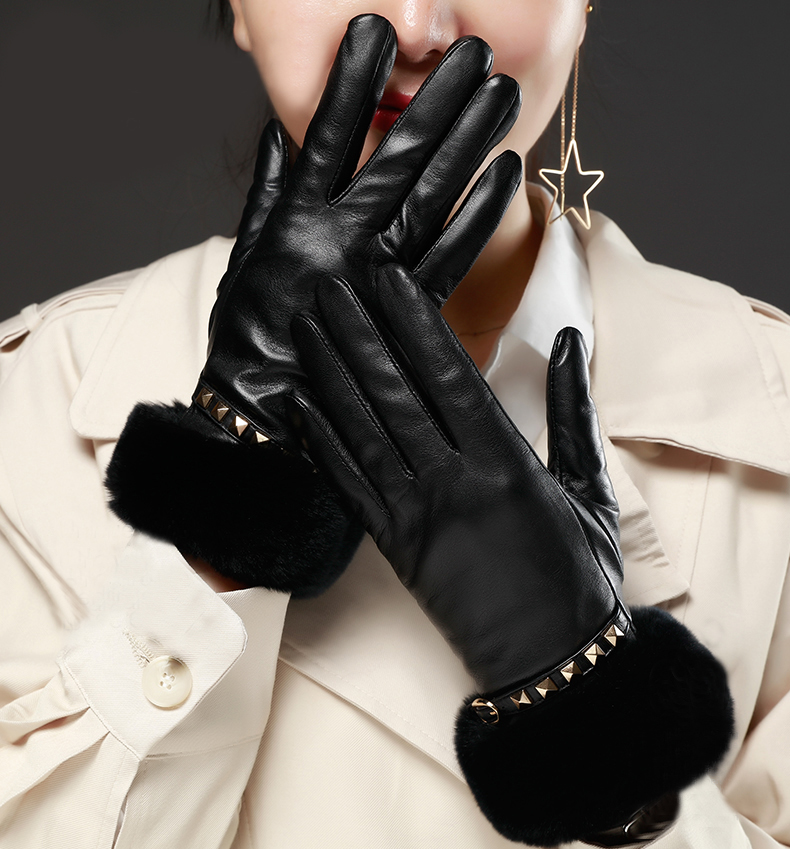 women winter warm top Italy goat leather with real rex rabbit fur warm gloves in black