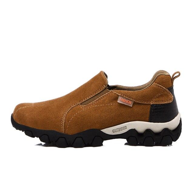Открытый Для мужчин Пеший Туризм обувь из натуральной кожи Кемпинг Для мужчин Спортивная обувь мужской Прогулки Кроссовки прочный водонепроницаемая обувь