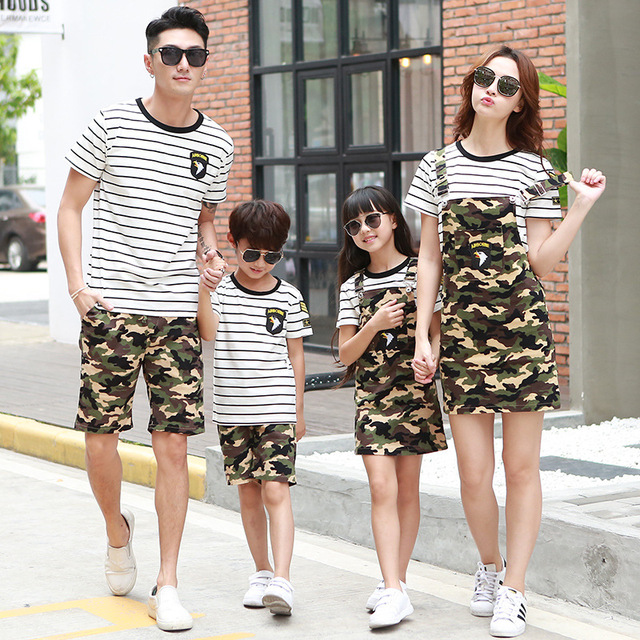 Camouflage Outfit Father Son Shirt Pants Mother Daughter Dresses Two