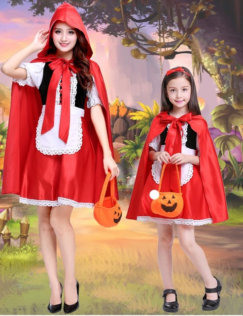 parent and child halloween costume little red riding hood costume fairytale dress party fancy dress for