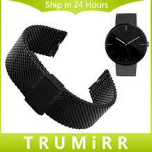 Milanese Loop Wrist Watch Band 22mm Stainless Steel Watchband Strap Bracelet for Moto Motorola 360 1 1st Gen 2014 Black Silver
