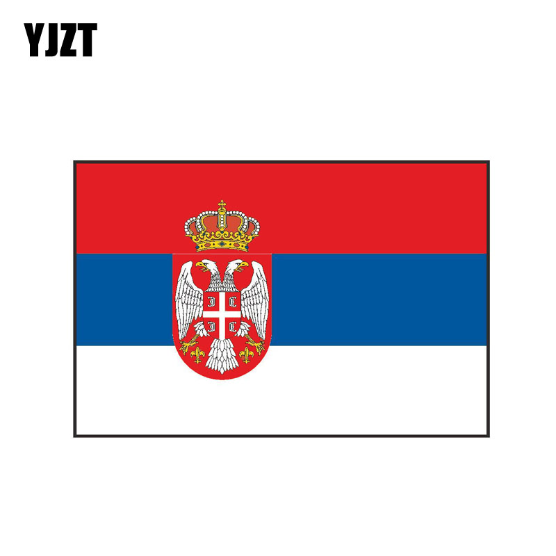 YJZT 14.9CM*9.8CM International SERBIA Flag Car Sticker Funny Creative Body Decal PVC 6-0439