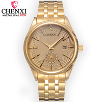 Chenxi Brand Calendar Gold Steel Quartz Watches Men Luxury Hot Selling Wristwatch Clock Male Rhinestone Watch