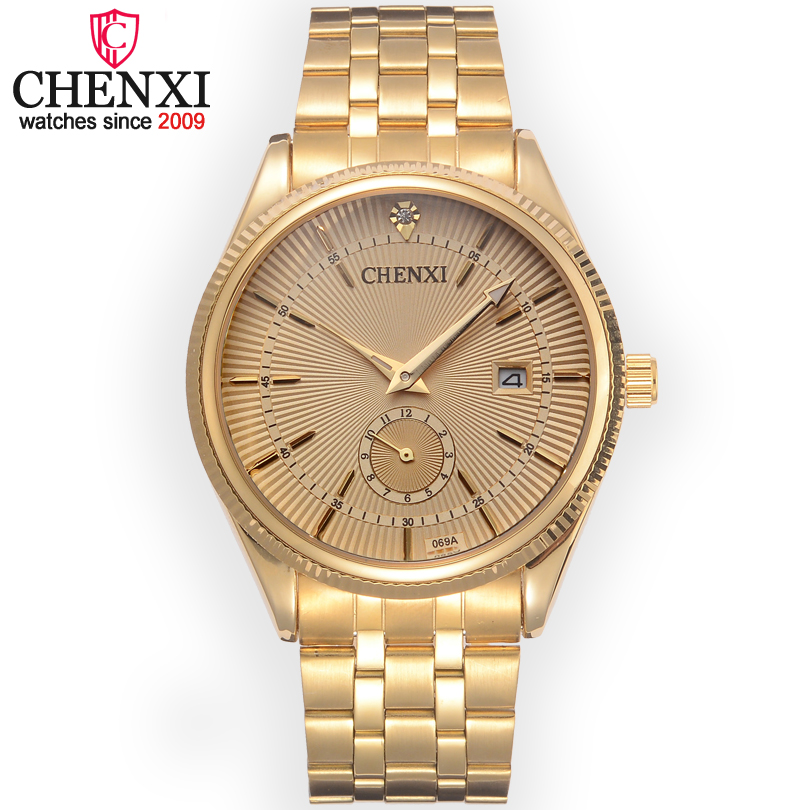 Chenxi Brand Calendar Gold Steel Quartz Watches Men Luxury Hot Selling Wristwatch Clock Male Rhinestone Watch Relogio Masculino chenxi men gold watch male stainless steel quartz golden men s wristwatches for man top brand luxury quartz watches gift clock