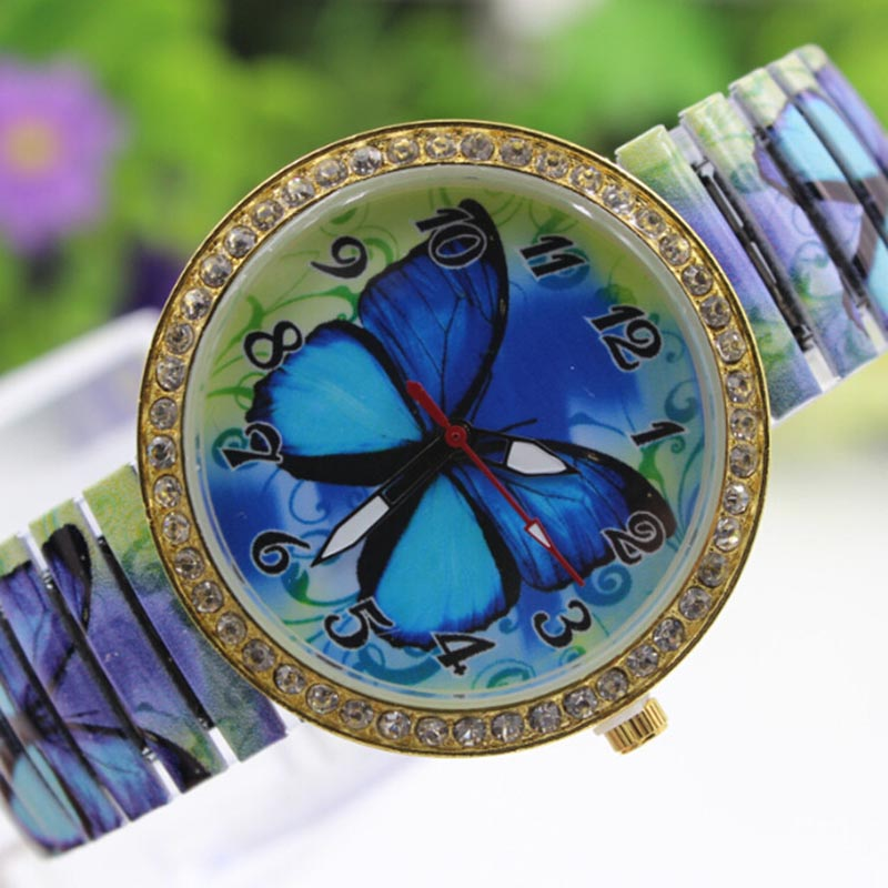 Fashion Women Blue Butterfly Pattern Casual Quartz Women Watch Stretch Watch Ladies Clock Reloj Hombre Features Saatler Hour B30