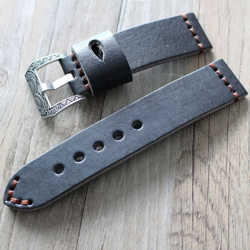 20mm 22mm 24mm 26mm Fabric Vintage Black leather Watchband Strap band Bracelet pin Carved Buckle Clasp For Panerai/Pam watch