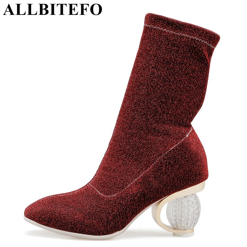 ALLBITEFO soft comfortable high heel ladies boots shoes fashion sexy women mid-calf boots girls ankle motocycle boots 4 colors