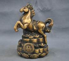 ^# 7'' China Folk Brass Bronze Statue Zodiac Horse Sculpture(China)