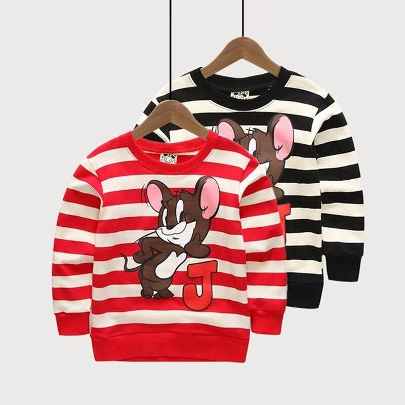 Детский свитер и толстовки для мальчиков и девочек мультфильм мышь узор в полоску Топы Весенняя детская одежда хлопковый свитшот одежда дл...