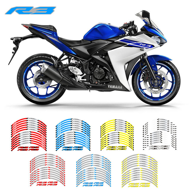 New high quality 12 Pcs Fit Motorcycle Wheel Sticker stripe Reflective  Rim For Yamaha YZF R3
