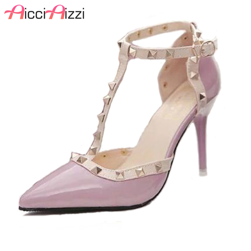 AicciAizzi Hot Women Pumps Ladies Sexy Pointed Toe High Heels Fashion Buckle Ankle Strap High Heel Sandals Shoes size 34-40 ladies 1 7 sexy pointed toe back strap western mixed color high heel sandals shoes women big size shoes 4 14 pink blue white