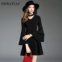 HERATI Fashion Street Autumn Women Straight Dress Choker Neck Layered Flare Sleeve Vintage V Neck Sexy Long Sleeve Elegant Dress