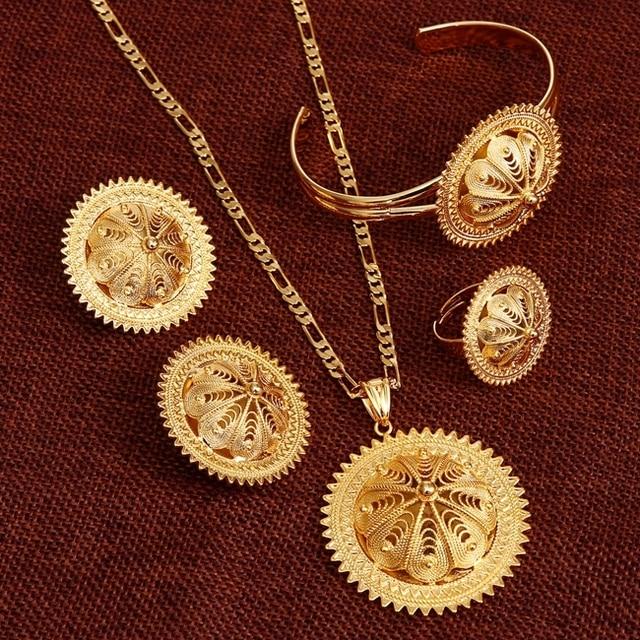 Bangrui NEW Ethiopian Jewelry Sets Solid gold color Habesha Set