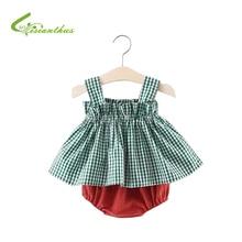 신생아 아기 소녀 옷 세트 여름 격자 무늬 꽃 인쇄 어린이 의류 스트랩 탑스 드레스 + 짧은 바지 2PCS 여름 세트