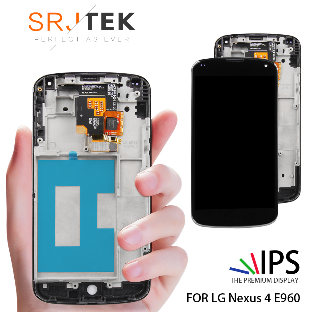 Original 4 7'' 1280x768 IPS LCD for LG Optimus Google Nexus 4 Display E960  LCD Touch Screen Ditigizer Replacement Parts