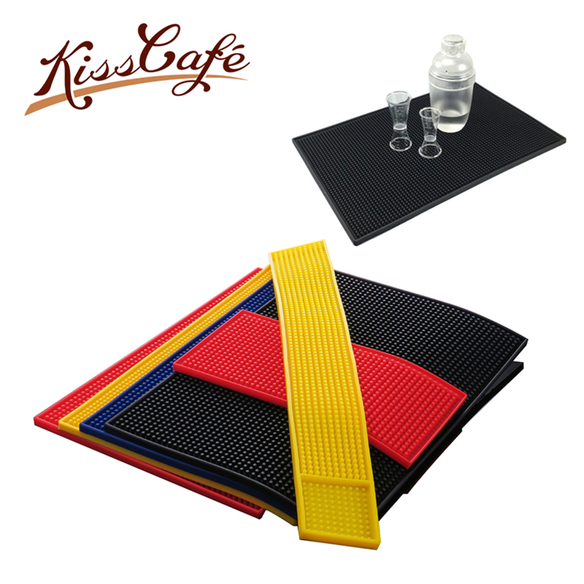 Pvc Bar Mat 1 pc 3 Size & 4 Color Rectangle PVC Rubber Beer Service Spill For Table Black Water Proof