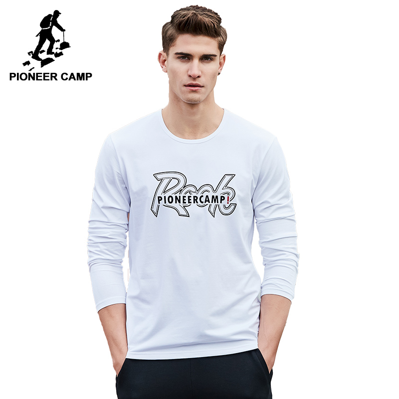Pioneer Camp T-shirt Men Autumn Long Sleeve Muscline Fit Rock White T Shirt Men Top Quality Breathable Male Tshirt ACT701024