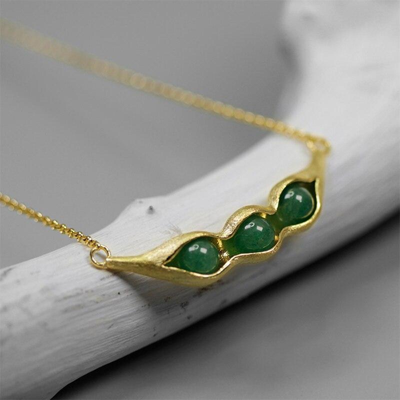 Lotus Fun réel 925 bijoux en argent Sterling pierres naturelles gousses de pois conception ensemble de bijoux avec anneau goutte boucle d'oreille collier - 4