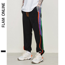 2019 Elastic Waist Track Pants Jogger Trousers Street wear Patchwork Letter Printed Side Stripe Man Sweatpants