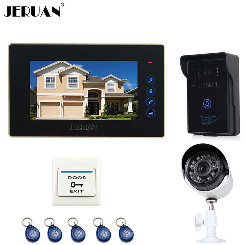 JERUAN  7 inch LCD Video door Phone Entry intercom System kit RFID Access IR Night Vision Camera + metal 700TVL Analog Camera