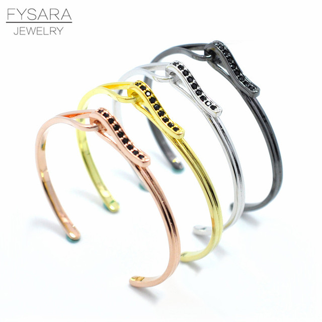 72aa65c7df1 FYSARA Punk Lover Cuff Bangle Black Gold Color Wristband Bracelets Crystal  Zircon Jewelry Couple Adjustable Bracelets & Bangles