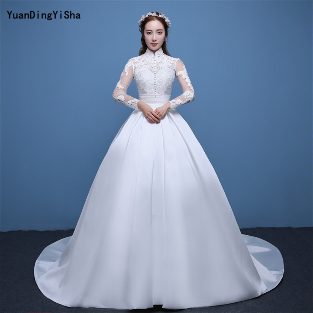 Real Photos A line Wedding Dress 2017 Lace And Satin Vestido De ...