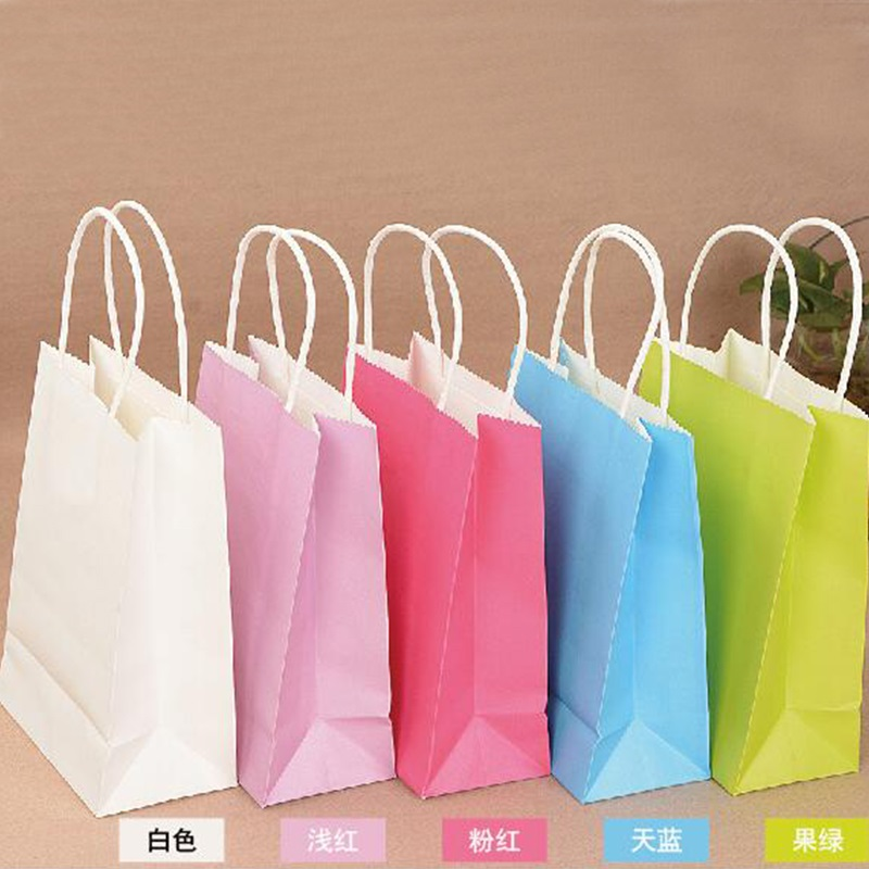 10PCS/lot High Quality Kraft Paper Bag With Handles Elegant White Packaging Bags For Wedding Birthday Party Jewelry Paper Bags