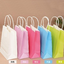 10PCS/lot Kraft paper bag with handles/21x15x8cm/sweet color Festival gift for wedding birthday party/ jewelry bags