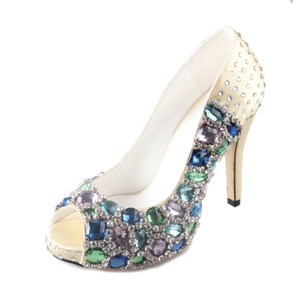 Handmade light gold satin shoes with sewed blue crystals rhinestones woman wedding party evening dress high heels prom pumps