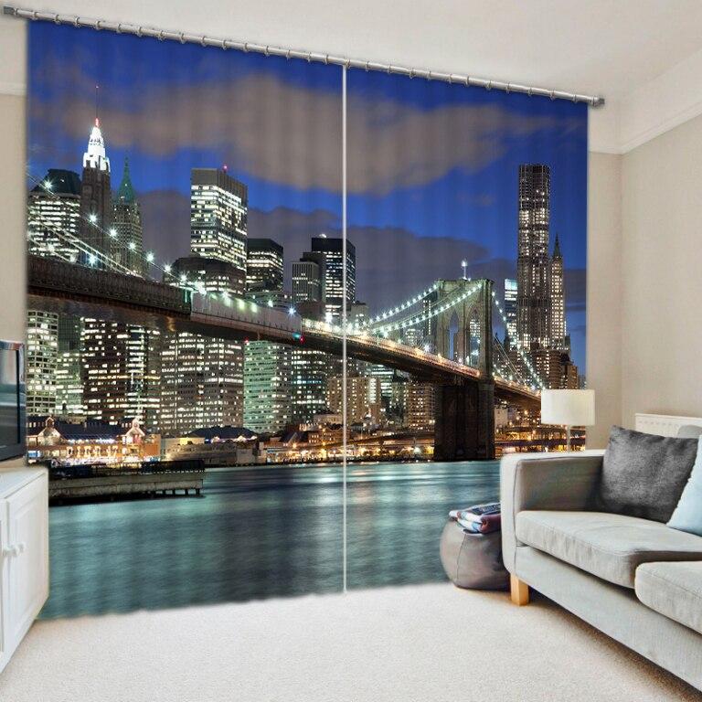 Trattamenti di finestra 3D Stampa Tenda Bella city night view Tende Della Finestra Per Soggiorno Ready Made Tende