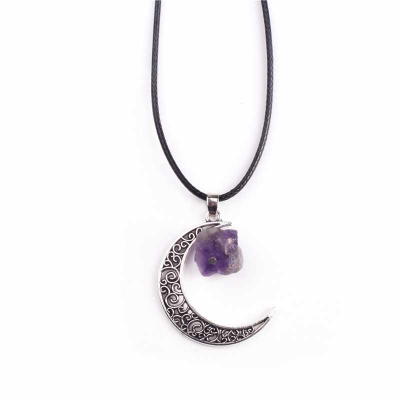 Moon Shape Irregular Purple Natural Quartz Stone Pendant Healing Crystal Necklaces for mothers day gift