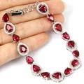 Pink Raspberry Rhodolite Garnet, White CZ Created SheCrown Woman's  Bracelet 7.5inch 22x10mm