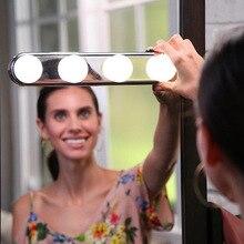 Портативный 4 Светодиодный светильник для студийного макияжа, супер яркий косметический зеркальный светильник с питанием от батареи, косметический светильник, светильник для ванной комнаты