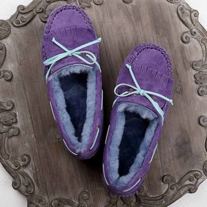 Image 5 - GRWG 100% טבעי פרווה נשים נעלי מוקסינים אמא ופרס רך אמיתי עור פנאי דירות נקבה נהיגה מקרית הנעלה