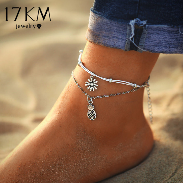 17KM 6 Style Bohemian Sunflower Pineapple Anklets For Women Vintage Pendent Double Layer Anklet Foot Jewelry Gifts Drop Shipping